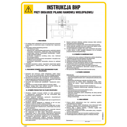 Instrukcja BHP przy obsłudze pilarki ramowej wielopiłowej