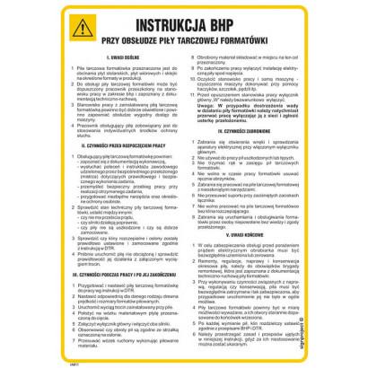 Instrukcja BHP przy obsłudze piły tarczowej formatówki