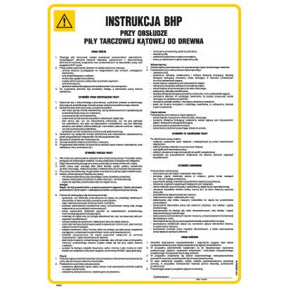 Instrukcja BHP przy obsłudze piły tarczowej kątowej do drewna