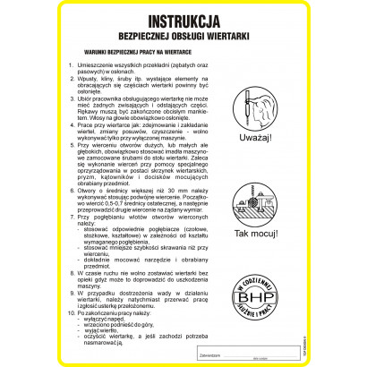Instrukcja bezpiecznej obsługi wiertarki
