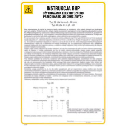 Instrukcja BHP użytkowania elektrycznego przecinarek lin drucianych