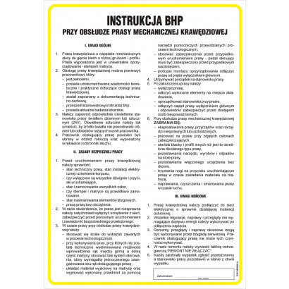 Instrukcja BHP przy obsłudze prasy mechanicznej - krawędziowej