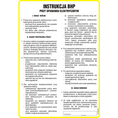Instrukcja BHP przy spawaniu elektrycznym