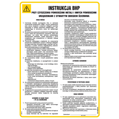Instrukcja BHP przy czyszczeniu powierzchni metali i innych powierzchni urządzeniami z otwartym obie