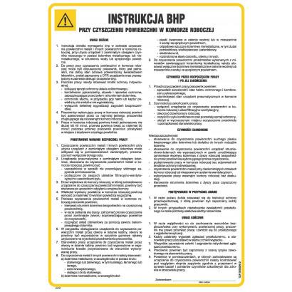 Instrukcja BHP przy czyszczeniu powierzchni w komorze roboczej