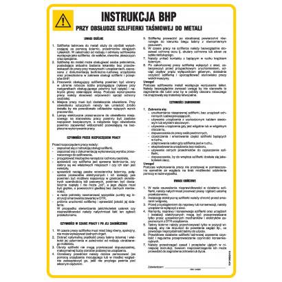 Instrukcja BHP przy obsłudze szlifierki taśmowej do metali