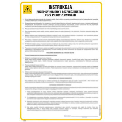 Instrukcja - przepisy BHP przy pracy z kwasami