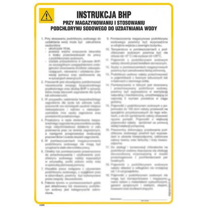 Instrukcja BHP przy magazynowaniu i stosowaniu podchlorynu sodowego do uzdatniania wody