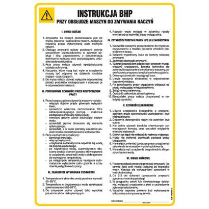 Instrukcja BHP przy obsłudze maszyn do zmywania naczyń
