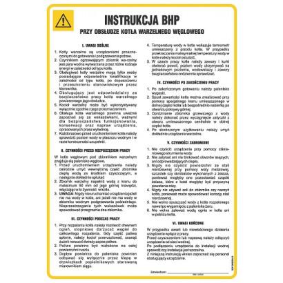 Instrukcja BHP przy obsłudze kotła warzelnego węglowego