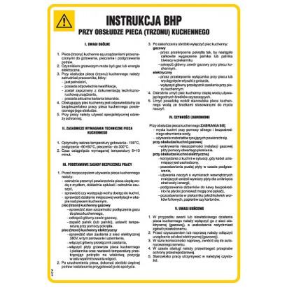 Instrukcja BHP przy obsłudze pieca (trzonu) kuchennego