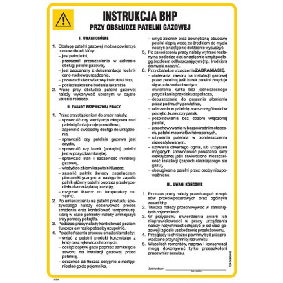 Instrukcja BHP przy obsłudze patelni gazowej