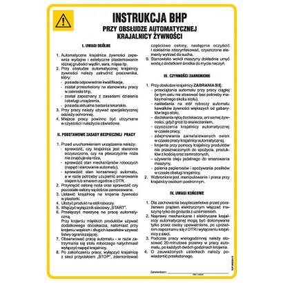 Instrukcja BHP przy obsłudze automatycznej krajalnicy żywności