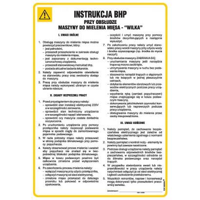 Instrukcja BHP przy obsłudze maszyny do mielenia mięsa - Wilk