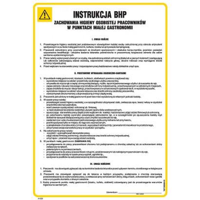 Instrukcja BHP zachowania higieny osobistej pracowników w punktach małej gastronomii IAG23