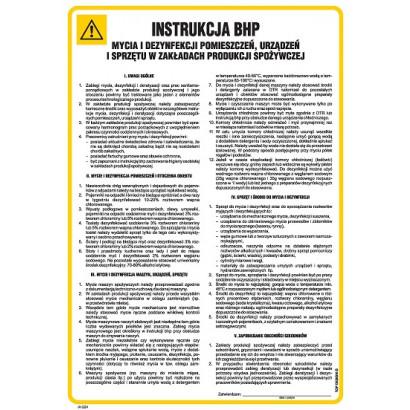 Ogólna Instrukcja BHP mycia i dezynfekcji pomieszczeń, urządzeń i sprzętu w zakładach produkcji spoż IAG24