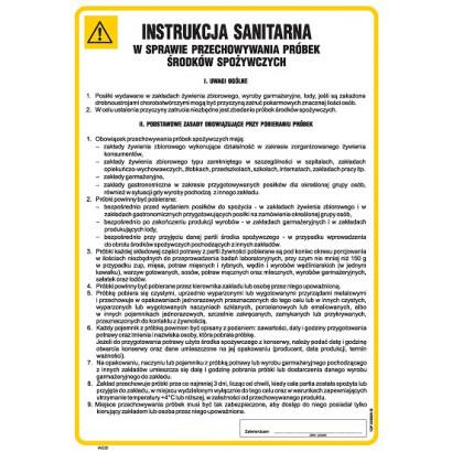 Instrukcja sanitarna w sprawie przechowywania próbek środków spożywczych IAG25
