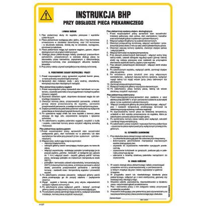 Instrukcja BHP przy obsłudze pieca piekarniczego