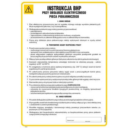 Instrukcja BHP przy obsłudze elektrycznych pieców piekarniczych