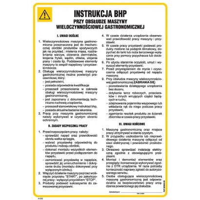Instrukcja BHP przy obsłudze maszyny wieloczynnościowej gastronomicznej