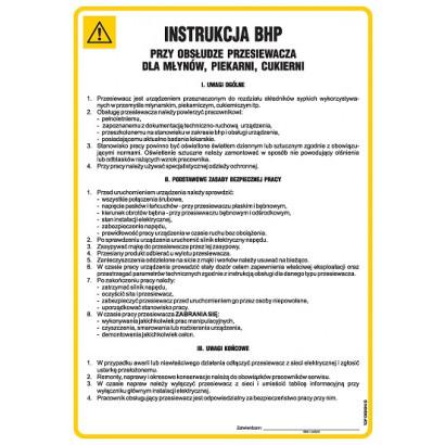 Instrukcja BHP przy obsłudze przesiewacza dla młynów