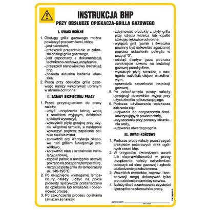 Instrukcja BHP przy obsłudze opiekacza - grilla gazowego
