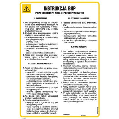 Instrukcja BHP przy obsłudze stołu podgrzewczego