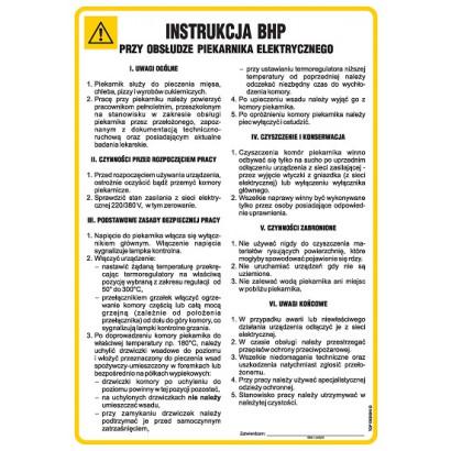 Instrukcja BHP przy obsłudze piekarnika elektrycznego