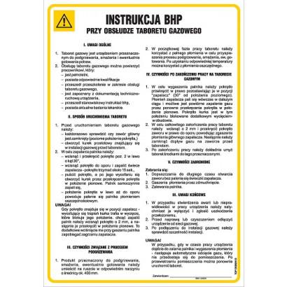 Instrukcja BHP przy obsłudze taboretu gazowego