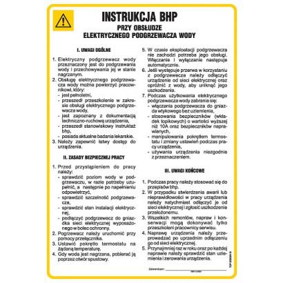 Instrukcja BHP przy obsłudze elektrycznego podgrzewacza wody