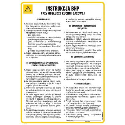 Instrukcja BHP przy obsłudze kuchni gazowej