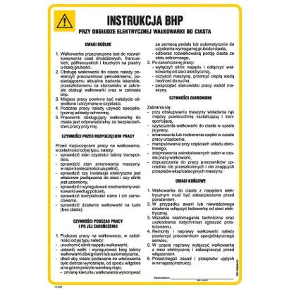 Instrukcja BHP przy obsłudze elektrycznej wałkowarki do ciasta