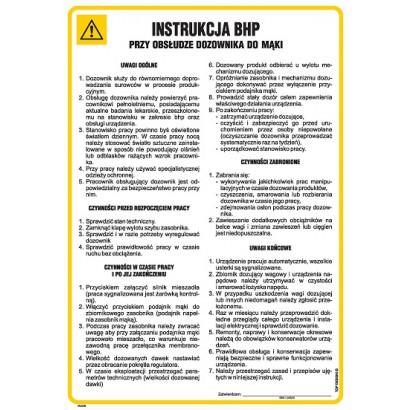 Instrukcja BHP przy obsłudze dozownika do mąki