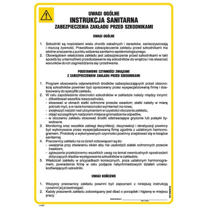 Instrukcja BHP zabezpieczenia zakładu przed szkodnikami