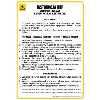 Instrukcja BHP wymiany tłuszczu i mycia patelni elektrycznej