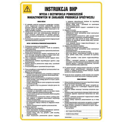 Instrukcja BHP mycia i dezynfekcji pomieszczeń magazynowych w zakładadzie produkcji spożywczej