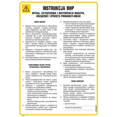 Instrukcja BHP mycia czyszczenia i dezynfekcji maszyn