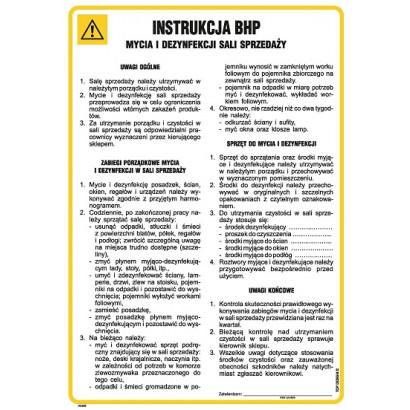 Instrukcja BHP mycia i dezynfekcji sali sprzedaży