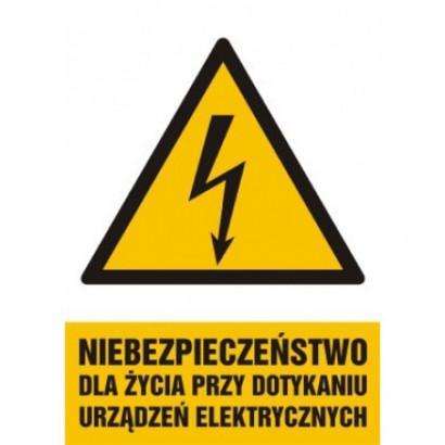 Niebezpieczeństwo dla życia przy dotykaniu urządzeń elektrycznych