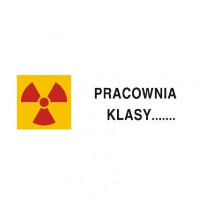 Znak ostrzegawczy do oznakowania pracowni z otwartymi źródłami promieniotwórczymi