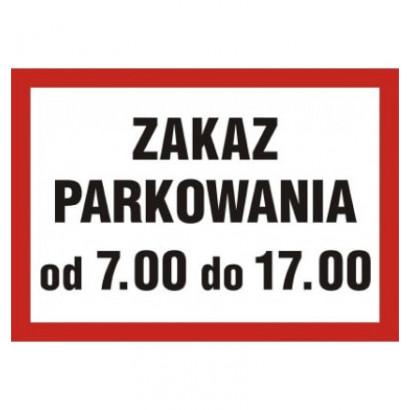 Zaka parkowania od 7.00 do 17.00