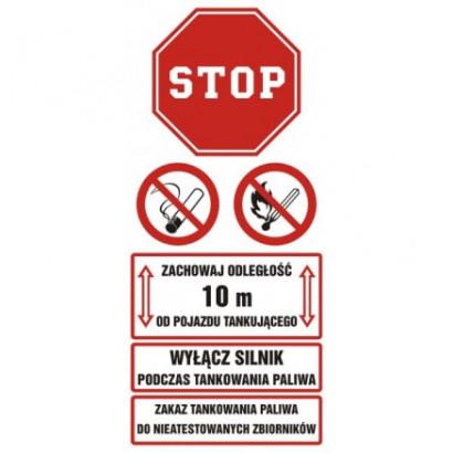 Zachowaj odległość 10 m od pojazdu tankującego. Wyłącz silnik podczas tankowania gazu