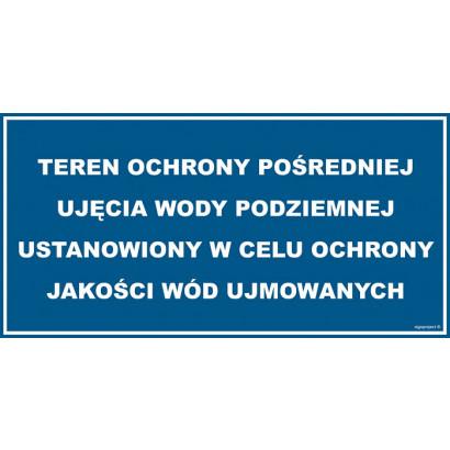 Znak - Teren ochrony pośredniej ujecia wody podziemnej JD037
