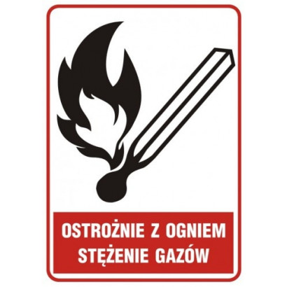 Znak - Ostrożnie z ogniem - stężenie gazów JD003