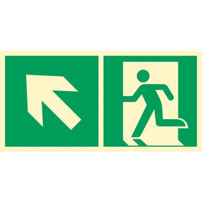 Kierunek do wyjścia ewakuacyjnego w górę w lewo (piktogram na lampę)