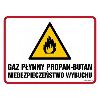Znak - Gaz płynny propan-butan. Niebezpieczeństwo wybuchu /pożaru/ NB025