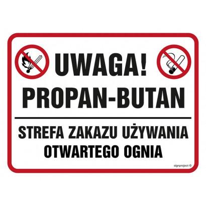 Znak - Uwaga, propan-butan. Strefa zakazu używania otwartego ognia NB027