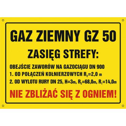 Znak - Gaz ziemny GZ-50. Zasięg strefy: obejście zaworów na gazociągu DN 900 NB035