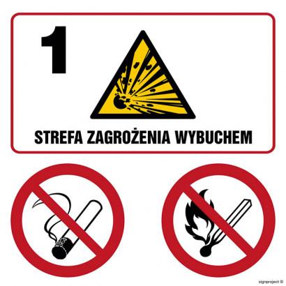 Znak - Strefa zagrożenia wybuchem 1. Zakaz palenia. Zakaz używania otwartego ognia NB036