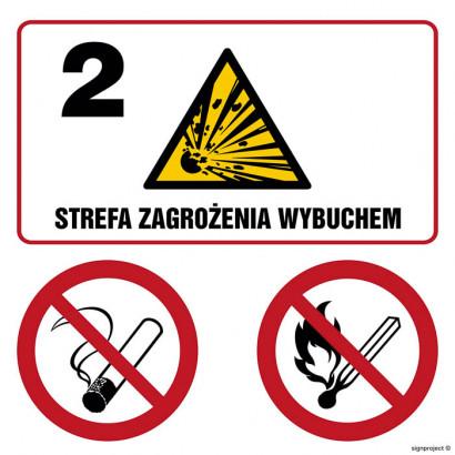 Znak - Strefa zagrożenia wybuchem 2. Zakaz palenia. Zakaz używania otwartego ognia. NB037